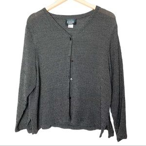 Eileen Fisher Button Waffle Long Sleeve Blouse